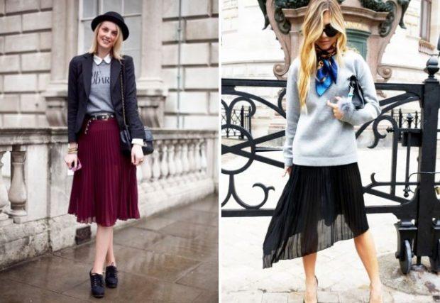 C чем носить юбку плиссе: из шифона бордо под жакет черная асимметрия
