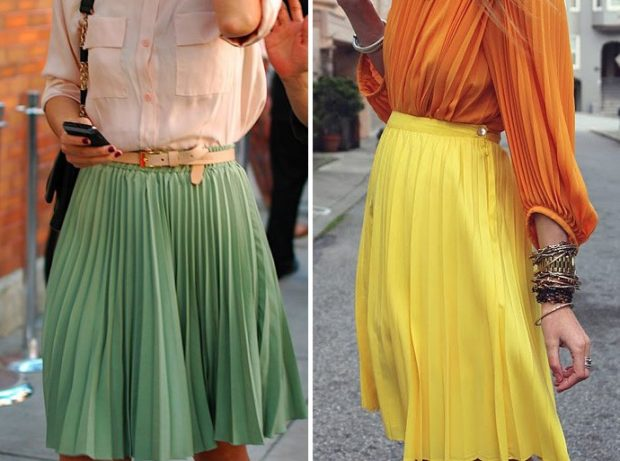 C чем носить юбку плиссе: из шифона зеленая под рубашку персиковую желтая