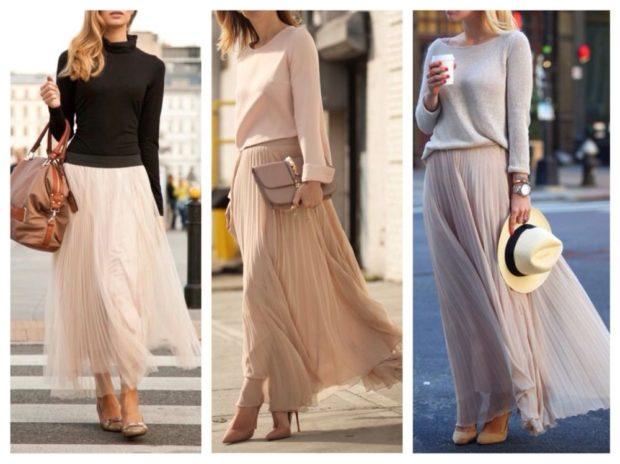 C чем носить юбку плиссе: из шифона макси светлые