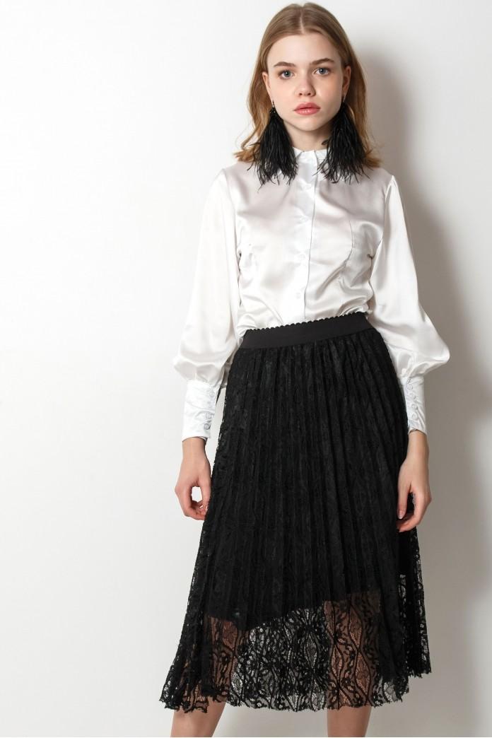 юбка плиссе черная под блузу белую