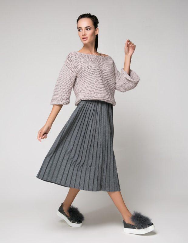 юбка плиссе с чем носить: серая теплая