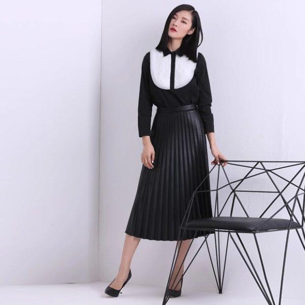 черная юбка плиссе миди под блузку