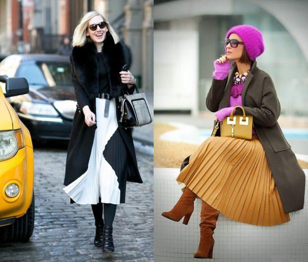 юбки миди плиссе белая под пальто коричневая под пальто сапоги на каблуке