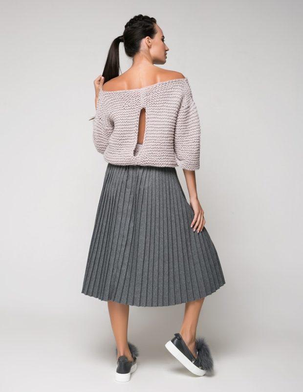 юбка плиссе трикотаж серый под слипоны свитер оверсайз