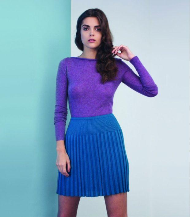 юбка плиссе шерсть синяя под свитер фиолетовый