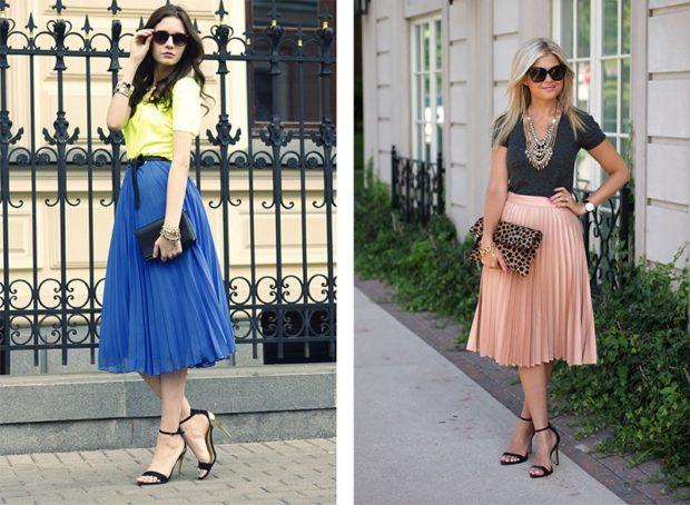 юбка плиссе с чем носить: синяя бежевая по колено