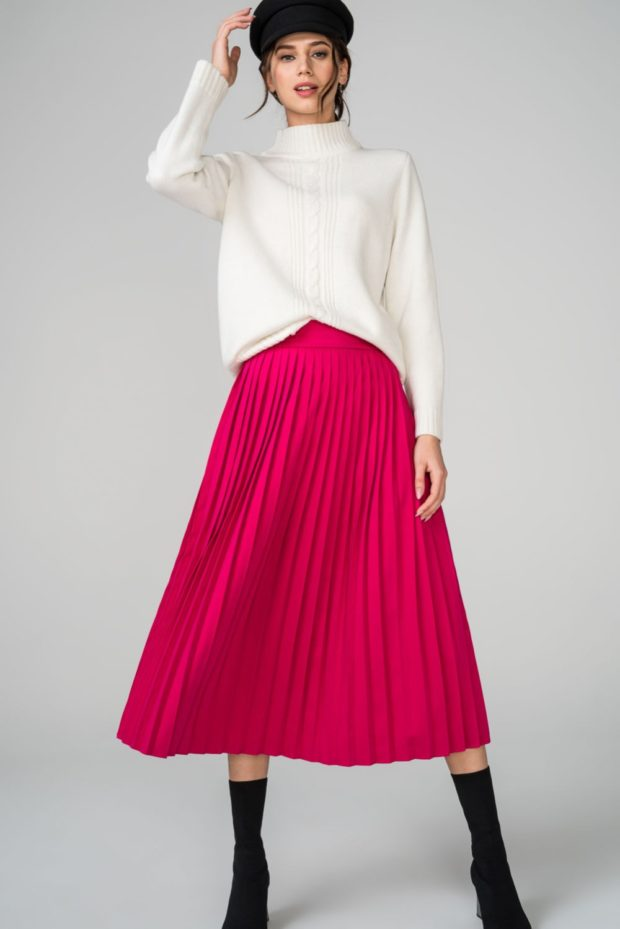 с чем носить плиссированную юбку 2019-2020: розовая миди теплая