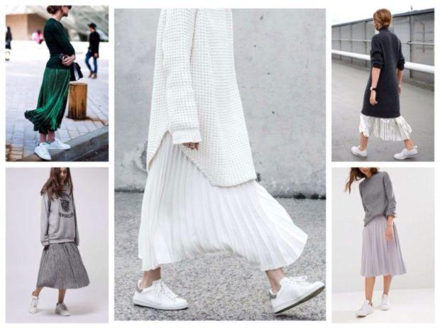 с чем носить плиссированную юбку 2018-2019: под кеды с кофтами