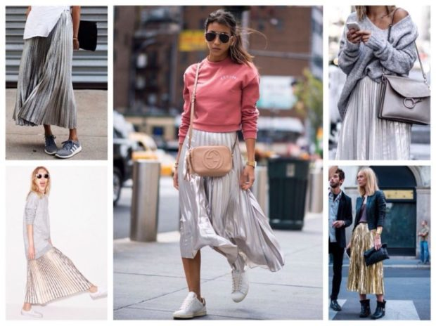 с чем носить плиссированную юбку 2018-2019: под кроссовки и кеды