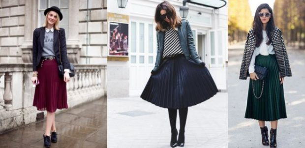 с чем носить плиссированную юбку 2018-2019: под ботильоны