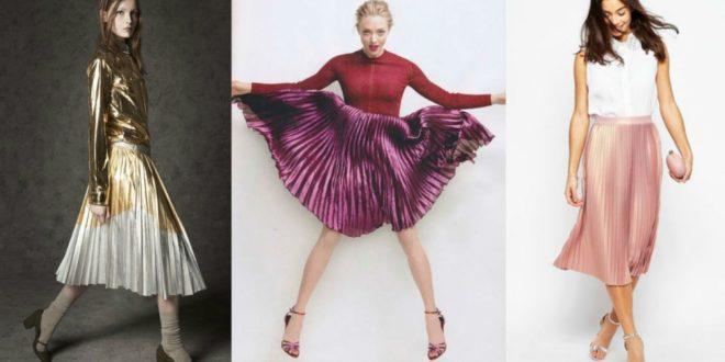 С чем носить юбку плиссе в 2019-2020 году? Фото плиссированных юбок. Фасоны ниже колена, макси. Весна-лето. Осень-зима.