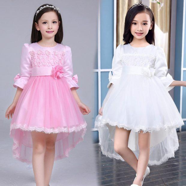 платья розовое белое нарядные со шлейфом