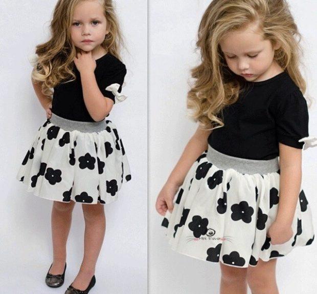 юбка солнце белая в черные цветы футболка черная