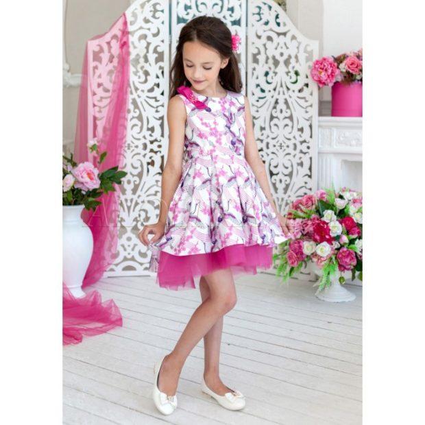 платье легкое розовое с белым юбка шифон