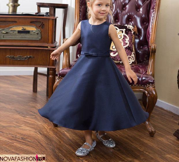 платье синее юбка пышная ремешок с бантиком без рукава