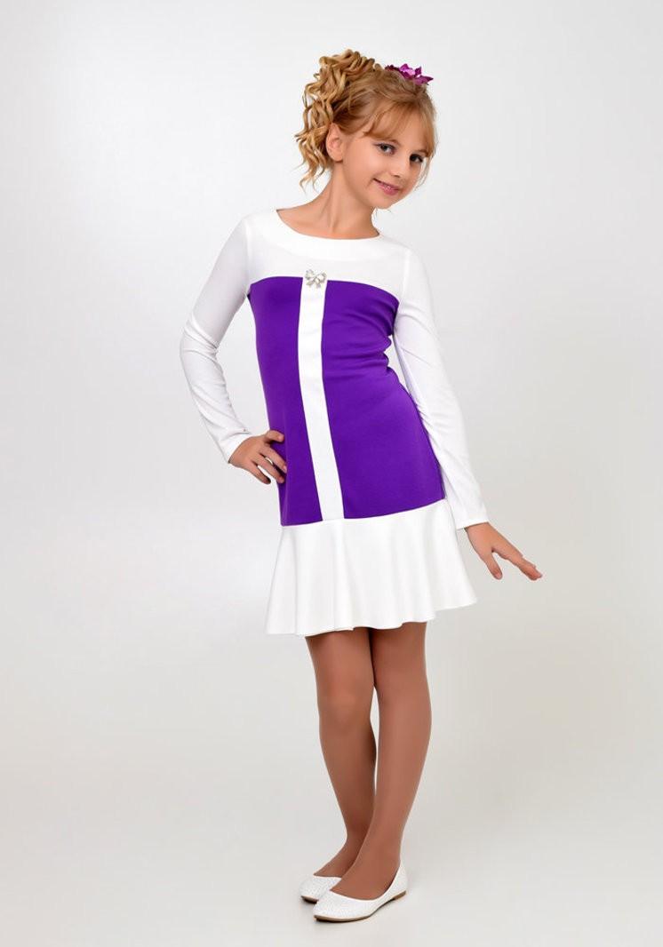 платье белое с фиолетовым с оборкой на каждый день