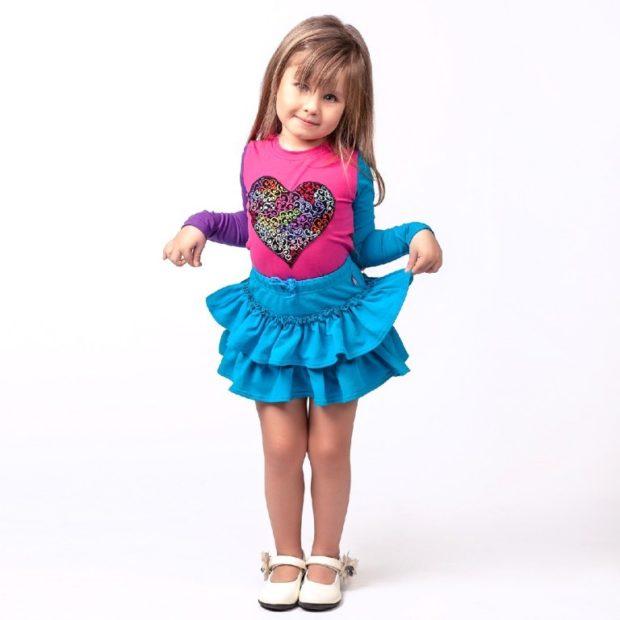юбка голубая короткая с воланами