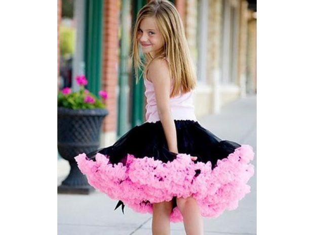 пышная юбка черная с розовым