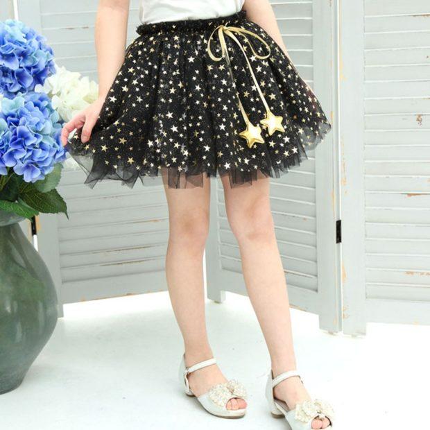 юбка пышная черная в звезды золотые