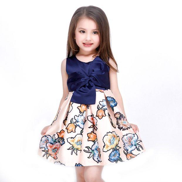 сарафан юбка солнце бежевая в цветы верх синий атлас