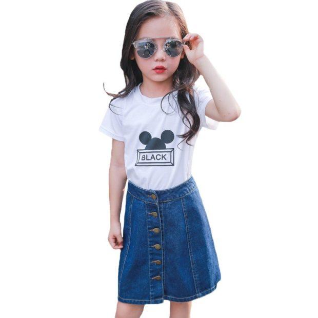 джинсовая юбка футболка белая