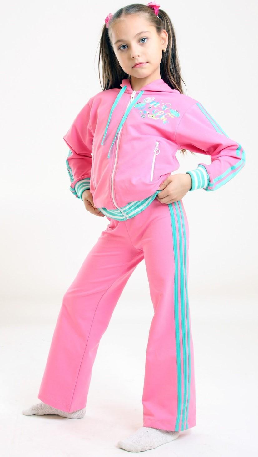спортивный костюм розовый с голубыми полосками