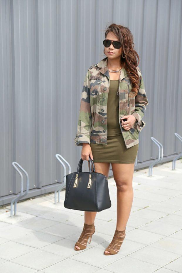 платье зеленое рубашка камуфляж стиль милитари