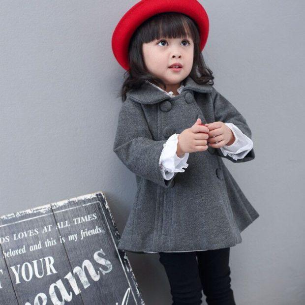 пальто шерстяное серое
