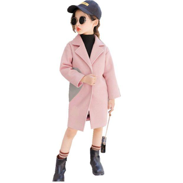 пальто шерстяное розовое с серой вставкой