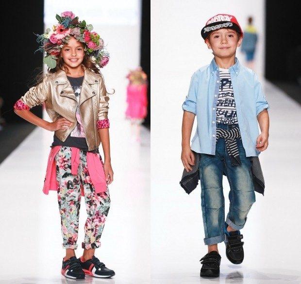 яркий уличный стиль для девочке штаны косуха джинсы короткие рубашка в тон для мальчика
