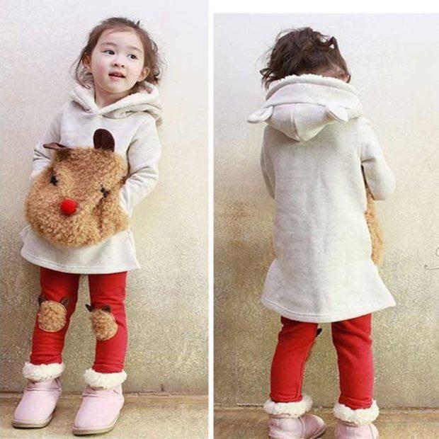 пальто белое для девочки спереди морда собаки
