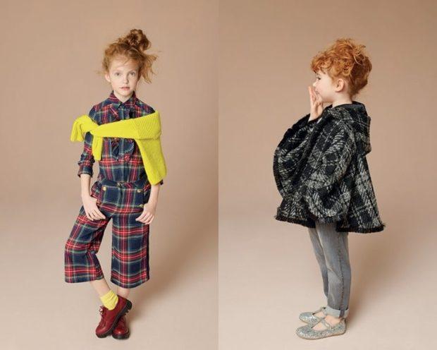 итальянский стиль для девочек костюм в клетку пальто