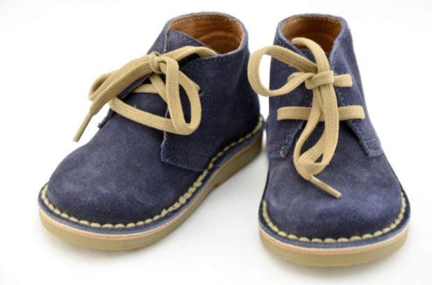 ботиночки синие на шнурках нубук