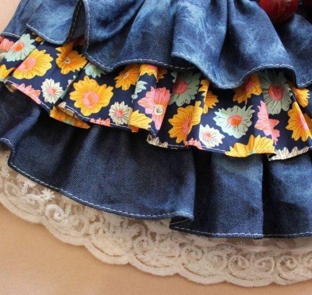 юбка катоновая с воланами и вставками из ткани и гипюра