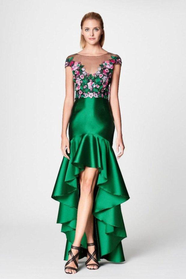 вечерние платья в пол изумрудного цвета