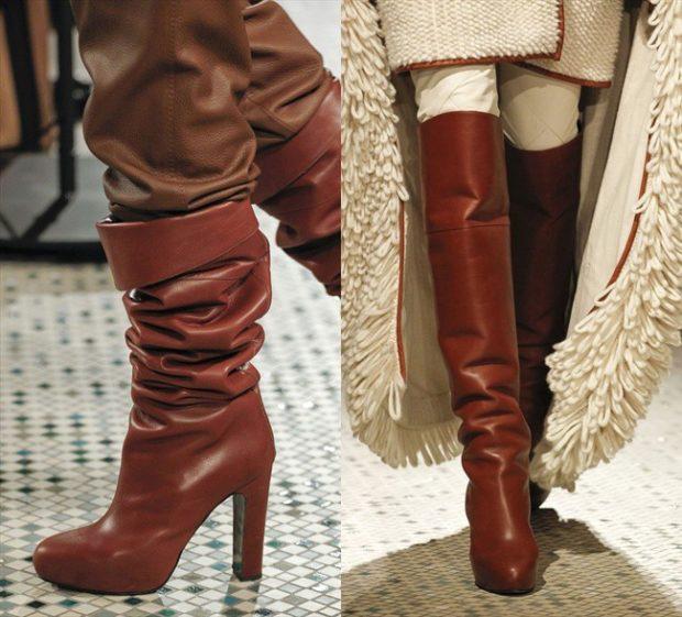 Коричневые сапоги с коричневыми штанами с коричневой шубой