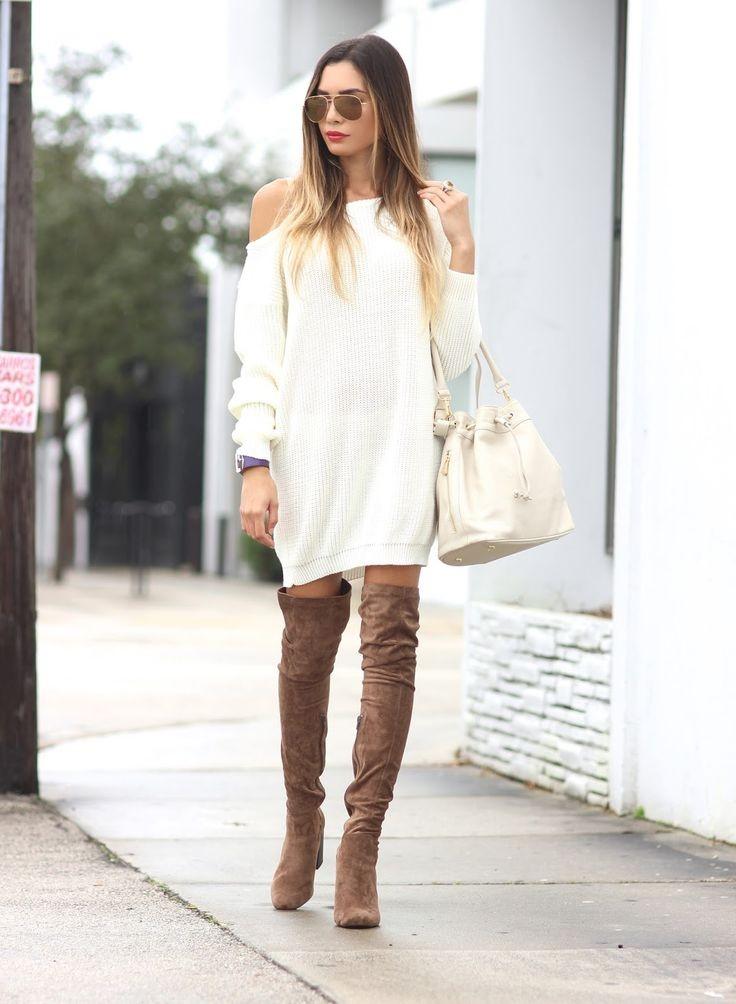 коричневые сапоги с белым платьем