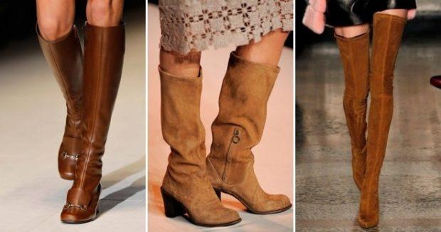 коричневые сапоги на голую ногу