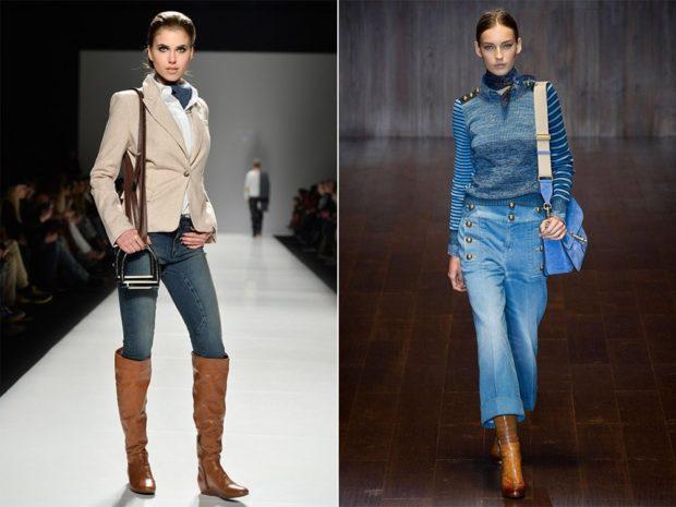 коричневые сапоги под джинсы