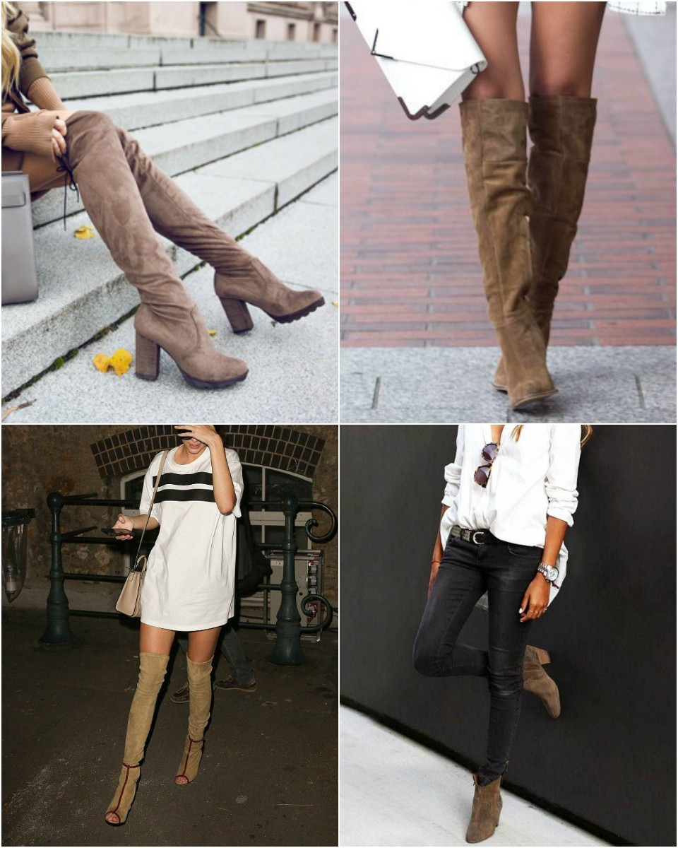 коричневые сапоги на каблуке