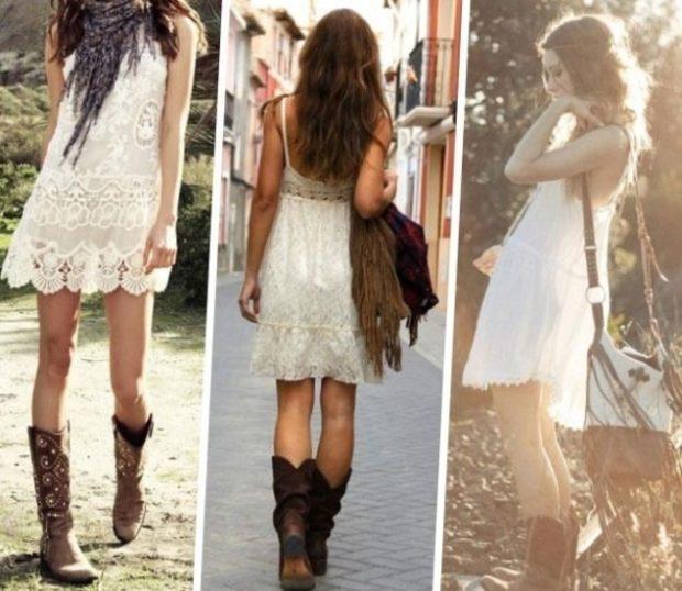 коричневые сапоги с платьем