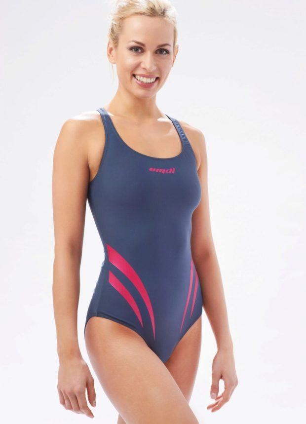 спортивный купальник серый с розовым