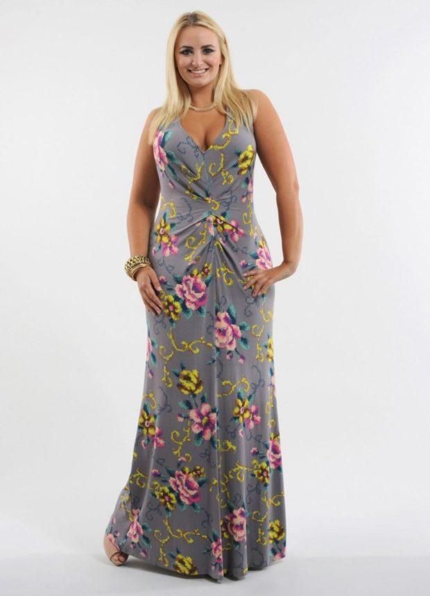 платье длинное в цветы плечи открыты