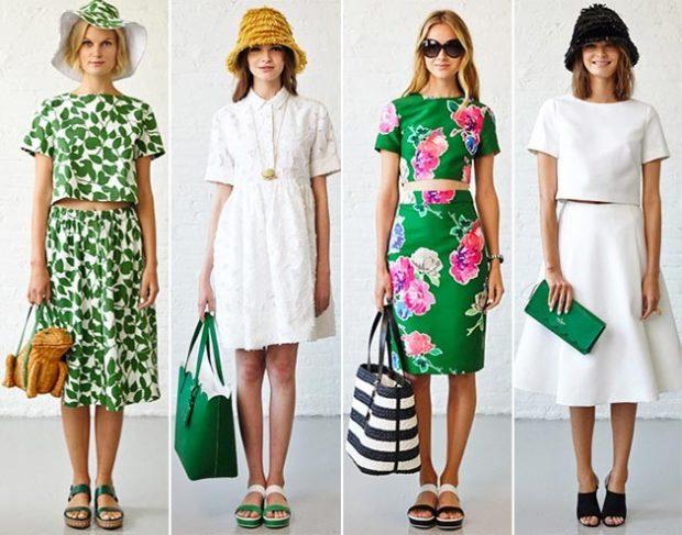 летние модные образы 2018: платье миди зеленое с белым белое короткое зеленое в цветы
