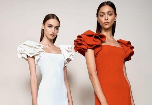 летние модные образы 2018: платье рукава с оборками красное белое