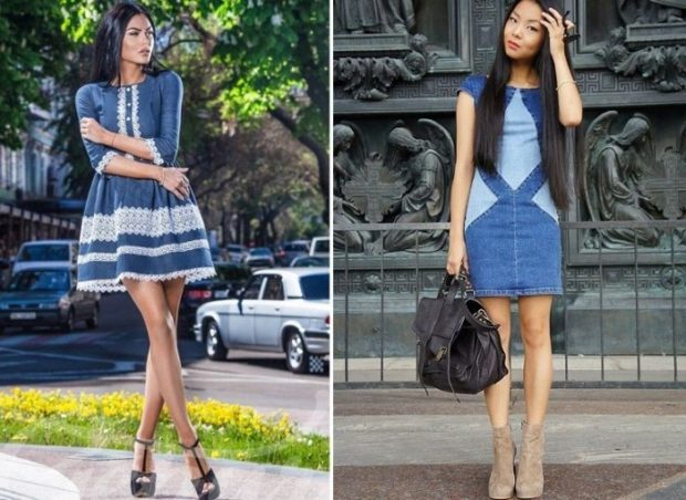 летние модные образы 2018: платья из денима с пышной юбкой по фигуре