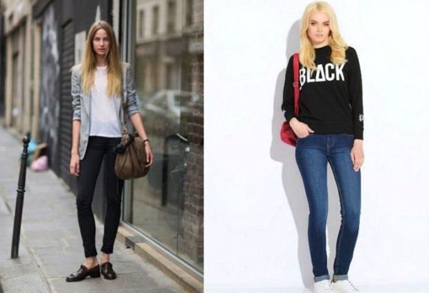 летние модные образы 2018: короткие брюки и жакет джинсы и кофта
