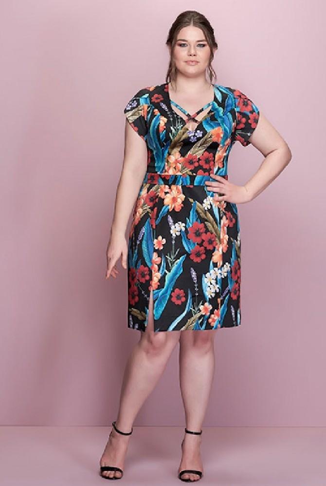летние модные образы 2018: платье миди яркое в цветы