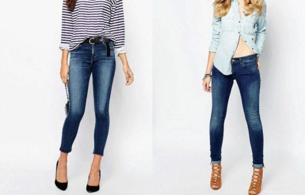 летние модные образы 2018: короткие джинсы под кофту в полоску