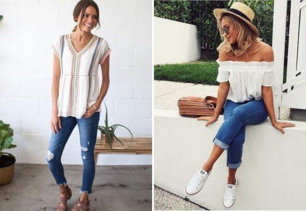 летние образы 2018 для женщин: короткие джинсы с футболкой в принт короткие джинсы майка кофта